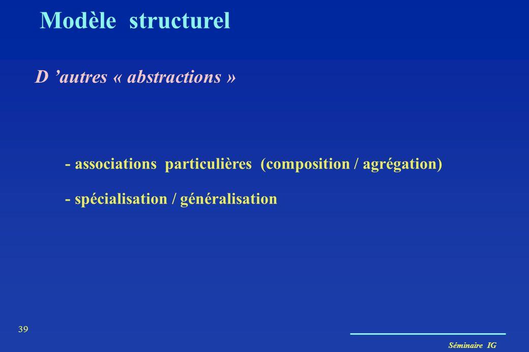 Séminaire IG 38 Classe association Modèle structurel Une classe d'association permet de modéliser une association par une classe. Les liens d'une tell