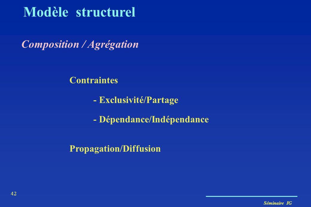 Séminaire IG 41 Agrégation Sémantique Collection/Élément Arbre Département Forêt 1 1..n Région Pays 1 1..n 1 Modèle structurel