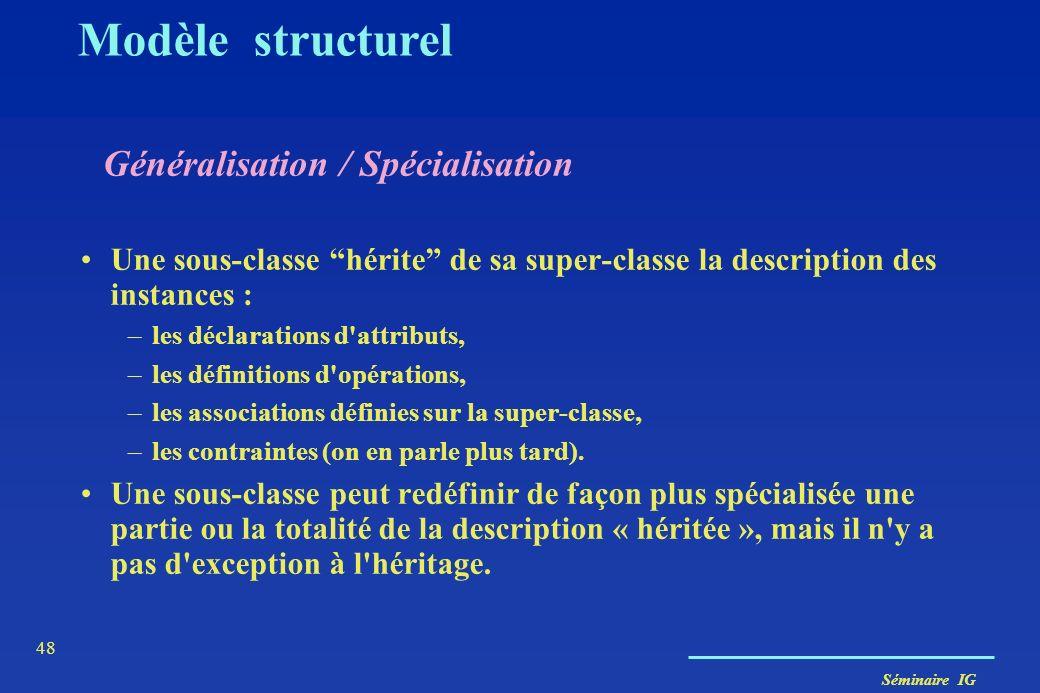 Séminaire IG 47 Composition/Agrégation ou généralisation ? Agrégation - lien entre instances - un arbre d'agrégation est composé d'objets qui sont par