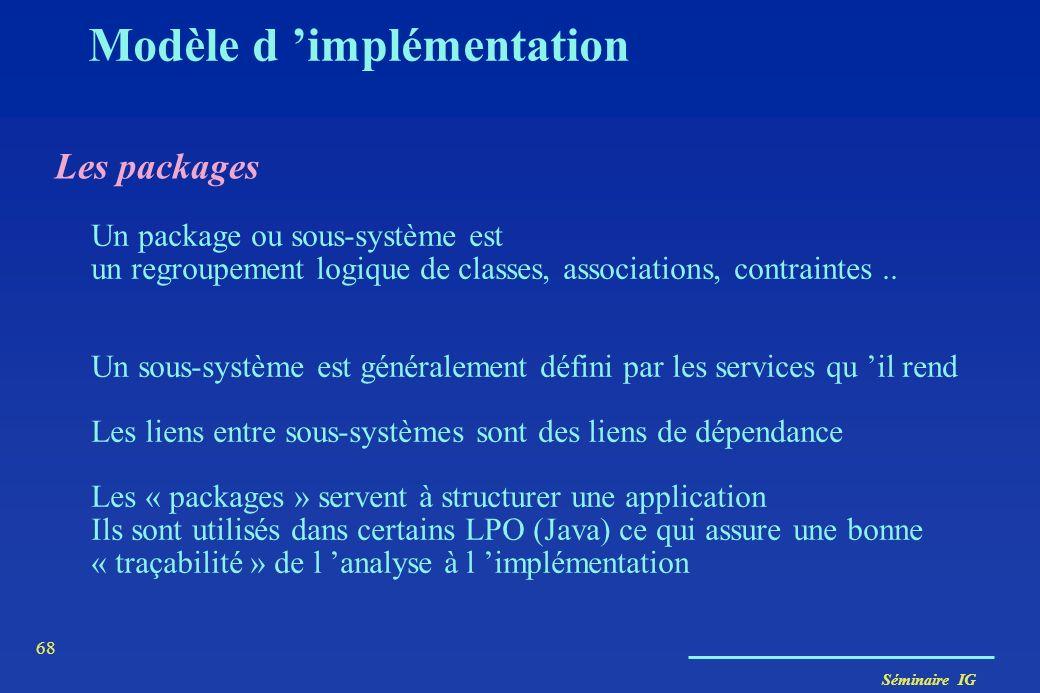 Séminaire IG 67 État 1 faire : Activité 1 Événement 1 [Cond1] / Action1 (attrib) État 2... Modèle dynamique Diagramme d état État d'un objet valeurs d