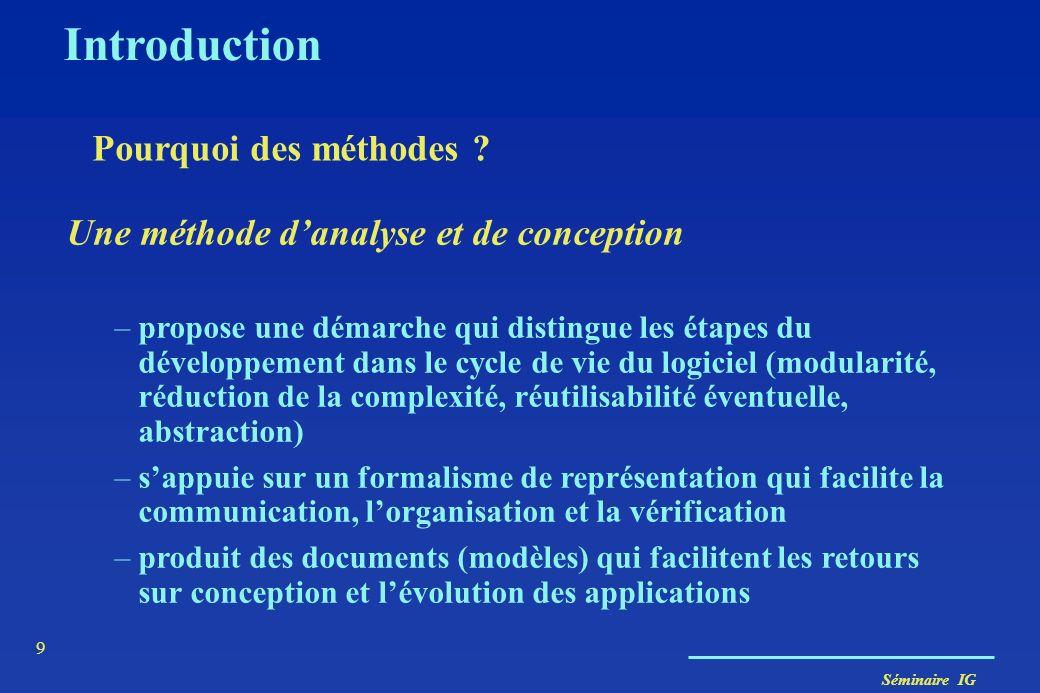 Séminaire IG 8 Introduction Pourquoi des méthodes ? Démarche reproductible pour obtenir des résultats fiables Construire des modèles à partir d'élémen