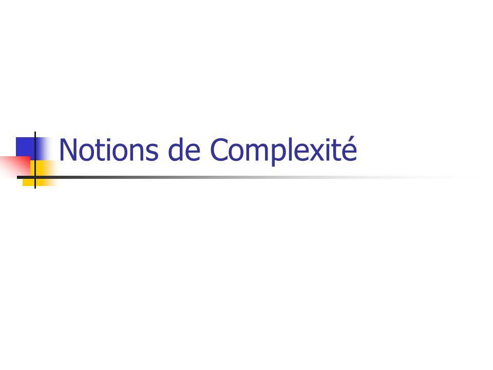 Notions de Complexité