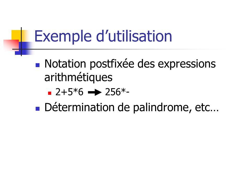 Exemple dutilisation Notation postfixée des expressions arithmétiques 2+5*6 256*- Détermination de palindrome, etc…