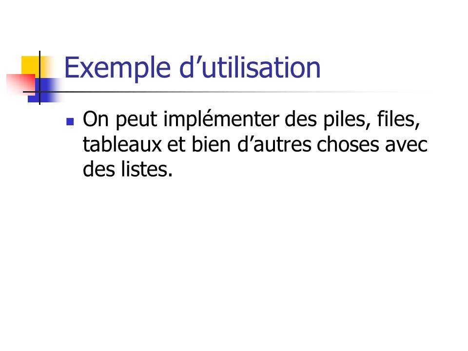 Exemple dutilisation On peut implémenter des piles, files, tableaux et bien dautres choses avec des listes.