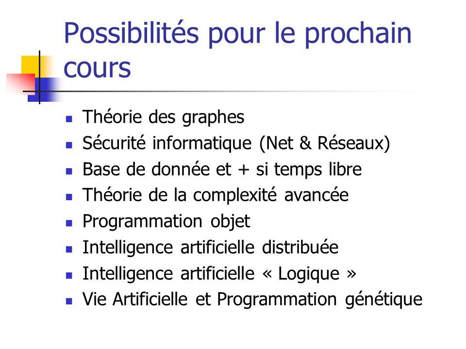 Possibilités pour le prochain cours Théorie des graphes Sécurité informatique (Net & Réseaux) Base de donnée et + si temps libre Théorie de la complex