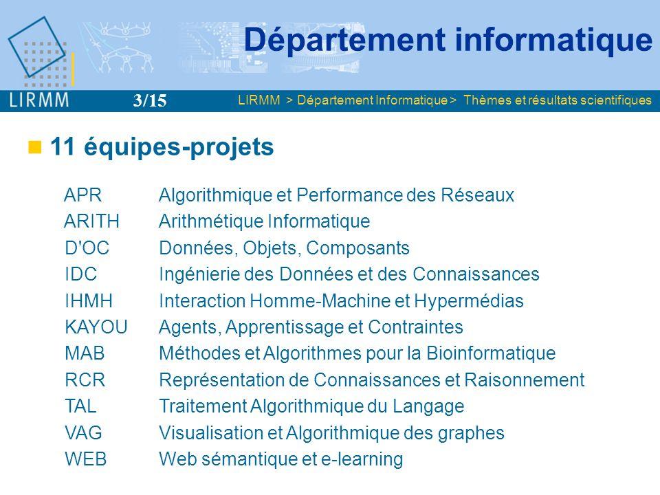 Département informatique 11 équipes-projets APRAlgorithmique et Performance des Réseaux ARITH Arithmétique Informatique D'OC Données, Objets, Composan