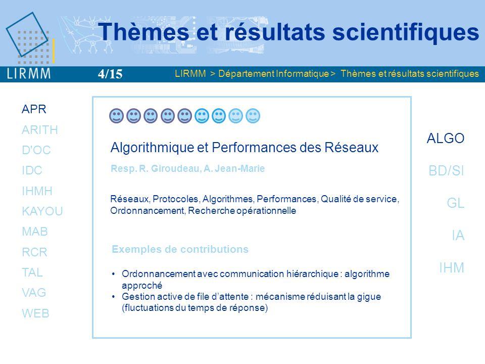 APR ARITH D'OC IDC IHMH KAYOU MAB RCR TAL VAG WEB ALGO BD/SI GL IA IHM Algorithmique et Performances des Réseaux Resp. R. Giroudeau, A. Jean-Marie Rés