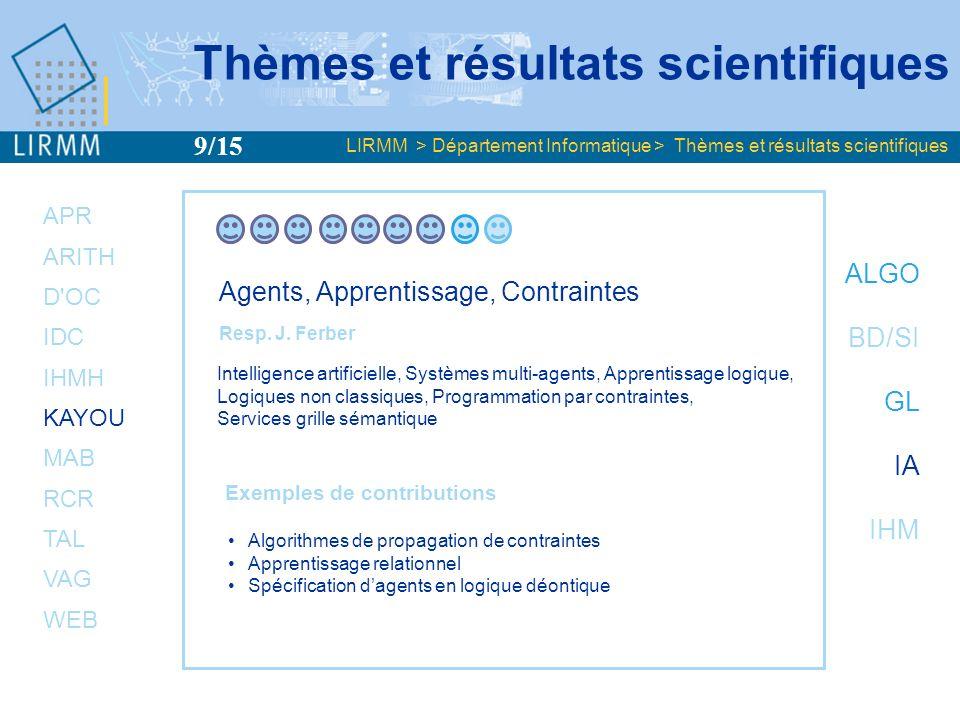 APR ARITH D OC IDC IHMH KAYOU MAB RCR TAL VAG WEB ALGO BD/SI GL IA IHM Méthodes et Algorithmes pour la Bioinformatique Resp.