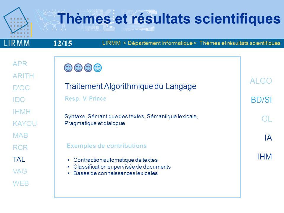 APR ARITH D OC IDC IHMH KAYOU MAB RCR TAL VAG WEB ALGO BD/SI GL IA IHM Visualisation et Algorithmes de Graphes Resp.