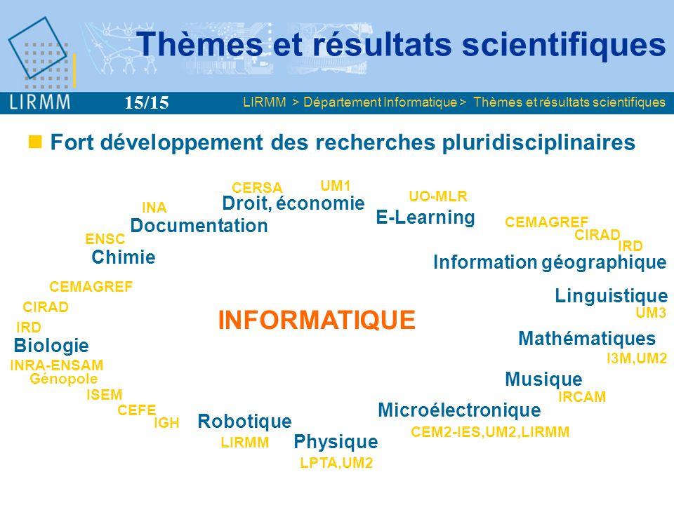 Plan LIRMM > Département Informatique > Plan Présentation générale Thèmes et résultats scientifiques Production Collaborations et rayonnement Perspectives 1/5