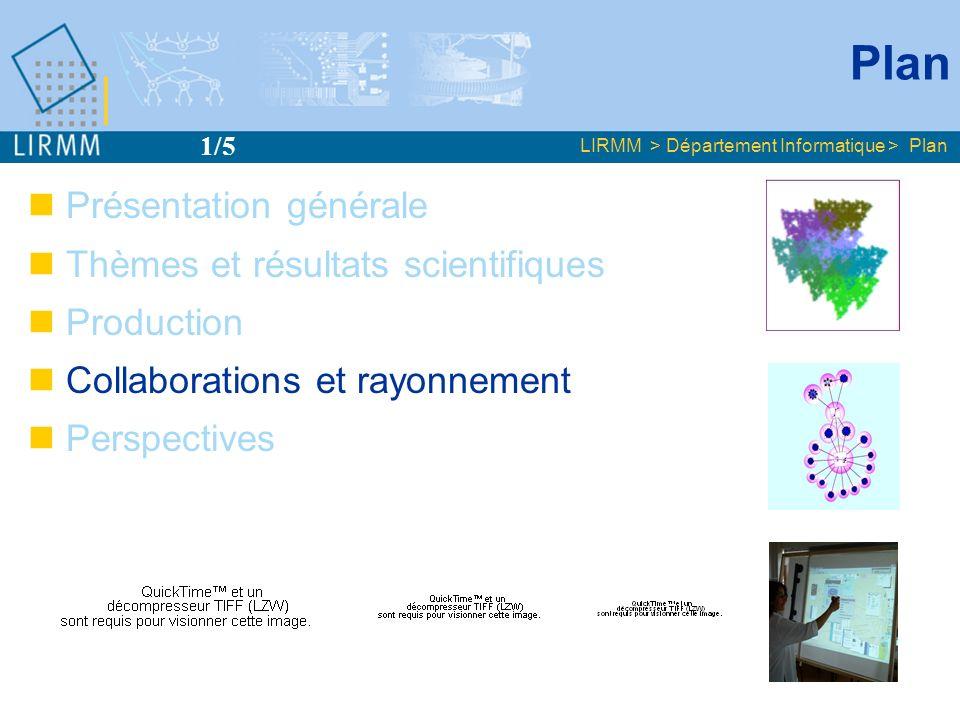 Plan LIRMM > Département Informatique > Plan Présentation générale Thèmes et résultats scientifiques Production Collaborations et rayonnement Perspect