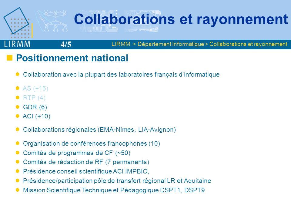 Positionnement national Collaboration avec la plupart des laboratoires français dinformatique AS (+15) RTP (4) GDR (6) ACI (+10) Collaborations région