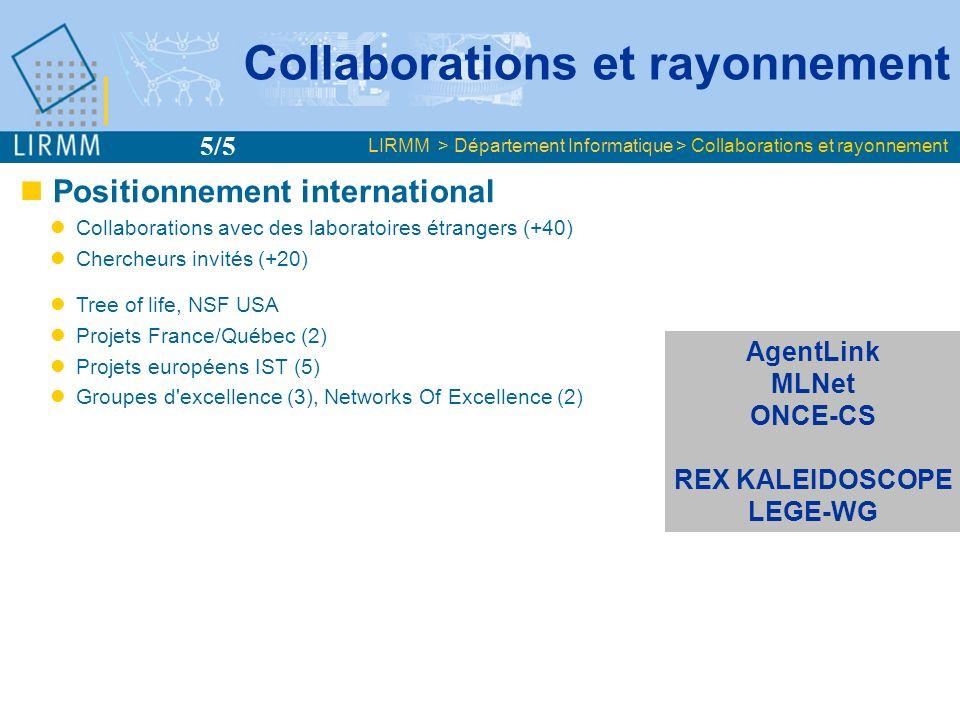 Positionnement international Collaborations avec des laboratoires étrangers (+40) Chercheurs invités (+20) Tree of life, NSF USA Projets France/Québec (2) Projets européens IST (5) Groupes d excellence (3), Networks Of Excellence (2) Interreg III (1) Action Minerva du programme SOCRATES (1) Collaborations et rayonnement LIRMM > Département Informatique > Collaborations et rayonnement 5/5