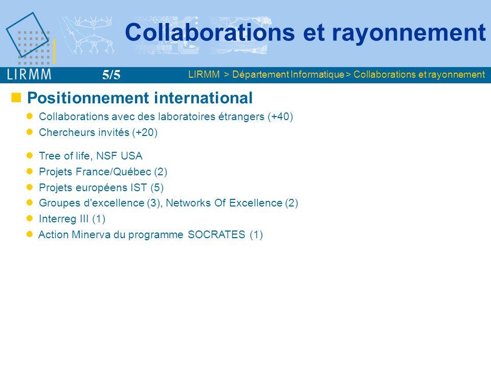 Positionnement international Collaborations avec des laboratoires étrangers (+40) Chercheurs invités (+20) Tree of life, NSF USA Projets France/Québec (2) Projets européens IST (5) Groupes d excellence (3), Networks Of Excellence (2) Interreg III (1) Action Minerva du programme SOCRATES (1) Organisation de conférences internationales (8) Comités de programmes de CI (~120) Comités de rédaction de RI (15 permanents) Membre Italian Committee for Research Evaluation 2005 Expert RISE (soft.