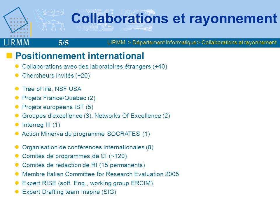 Positionnement international Collaborations avec des laboratoires étrangers (+40) Chercheurs invités (+20) Tree of life, NSF USA Projets France/Québec