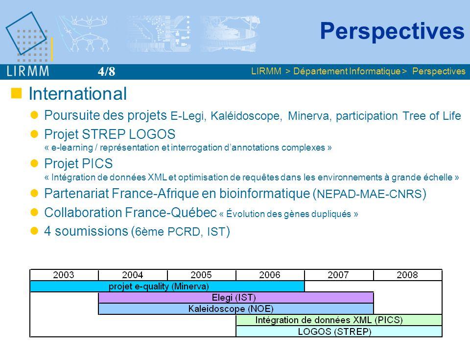 International Poursuite des projets E-Legi, Kaléidoscope, Minerva, participation Tree of Life Projet STREP LOGOS « e-learning / représentation et inte