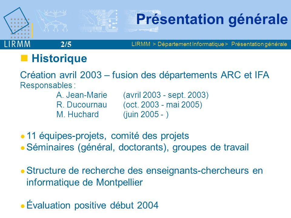 Enseignants- Chercheurs 63 Chercheurs 13 dont HDR 32 Doctorants 72 TOTAL (EC, C, D) 148 + Associés 13 LIRMM > Département Informatique > Présentation générale UM2 (55) CNRS (12) UM3 (5) CNAM (2) INRIA (1) UM1 (1) 148 chercheurs, enseignants-chercheurs et doctorants Présentation générale 3/5