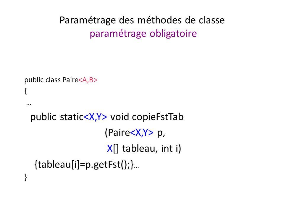 Paramétrage des méthodes de classe paramétrage obligatoire public class Paire { … public static void copieFstTab (Paire p, X[] tableau, int i) {tableau[i]=p.getFst();} … }