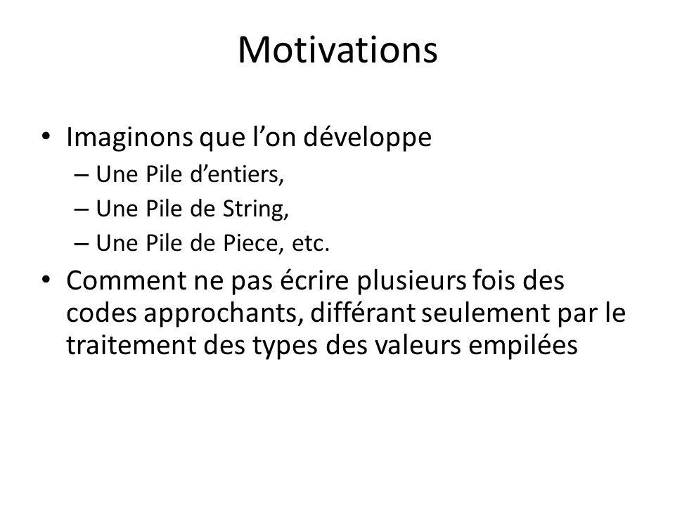 Motivations Imaginons que lon développe – Une Pile dentiers, – Une Pile de String, – Une Pile de Piece, etc.