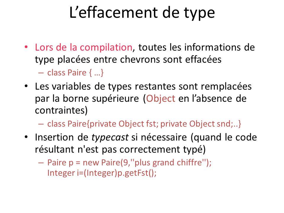 Leffacement de type Lors de la compilation, toutes les informations de type placées entre chevrons sont effacées – class Paire { …} Les variables de types restantes sont remplacées par la borne supérieure (Object en labsence de contraintes) – class Paire{private Object fst; private Object snd;..} Insertion de typecast si nécessaire (quand le code résultant n est pas correctement typé) – Paire p = new Paire(9, plus grand chiffre ); Integer i=(Integer)p.getFst();