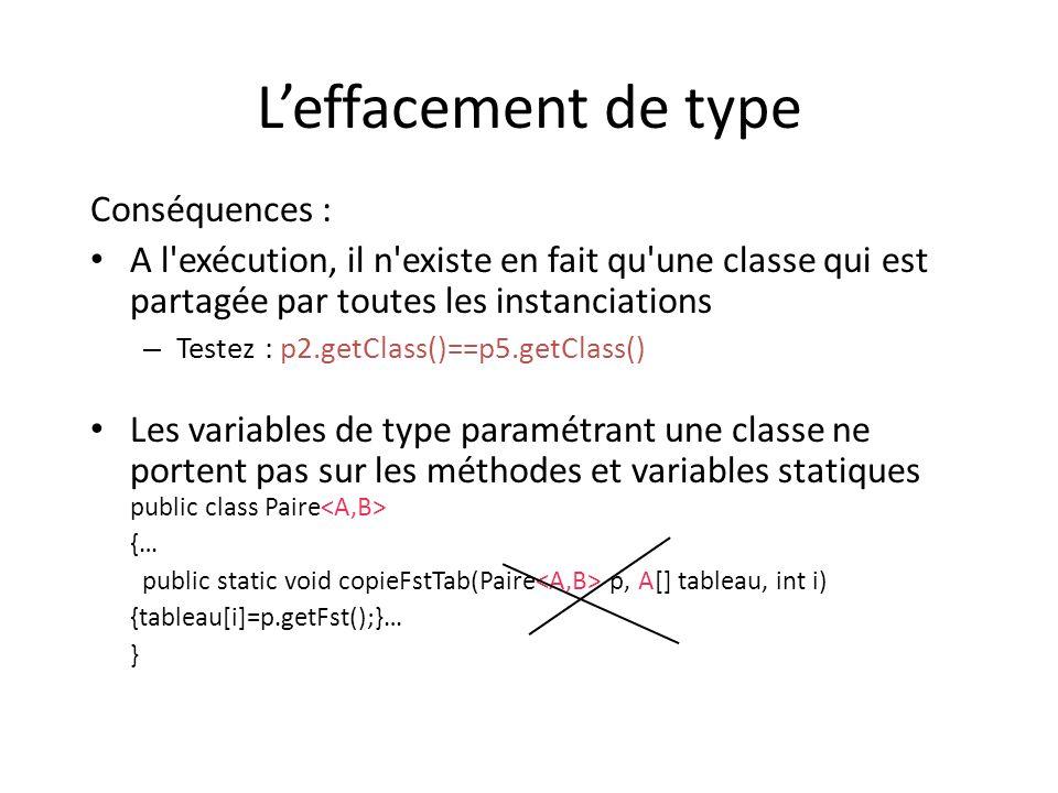 Leffacement de type Conséquences : A l exécution, il n existe en fait qu une classe qui est partagée par toutes les instanciations – Testez : p2.getClass()==p5.getClass() Les variables de type paramétrant une classe ne portent pas sur les méthodes et variables statiques public class Paire {… public static void copieFstTab(Paire p, A[] tableau, int i) {tableau[i]=p.getFst();}… }