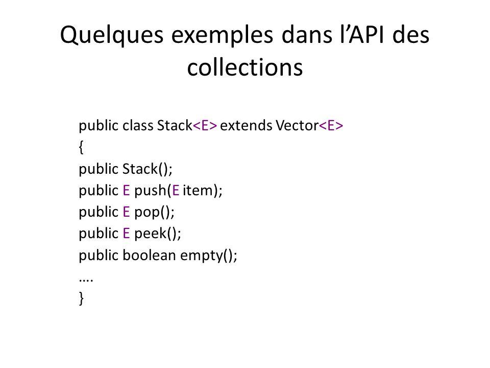 Quelques exemples dans lAPI des collections public class Stack extends Vector { public Stack(); public E push(E item); public E pop(); public E peek(); public boolean empty(); ….