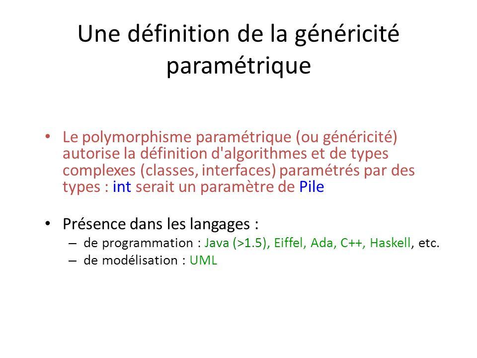 Une définition de la généricité paramétrique Le polymorphisme paramétrique (ou généricité) autorise la définition d algorithmes et de types complexes (classes, interfaces) paramétrés par des types : int serait un paramètre de Pile Présence dans les langages : – de programmation : Java (>1.5), Eiffel, Ada, C++, Haskell, etc.