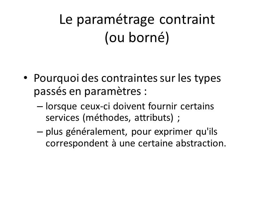 Le paramétrage contraint (ou borné) Pourquoi des contraintes sur les types passés en paramètres : – lorsque ceux-ci doivent fournir certains services (méthodes, attributs) ; – plus généralement, pour exprimer qu ils correspondent à une certaine abstraction.