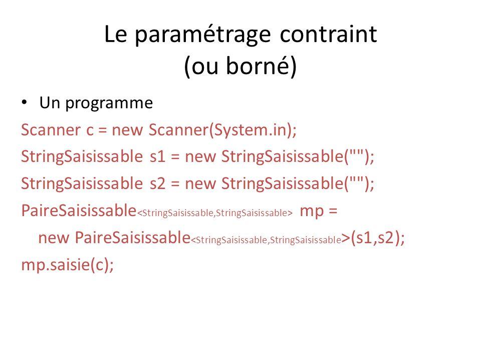 Le paramétrage contraint (ou borné) Un programme Scanner c = new Scanner(System.in); StringSaisissable s1 = new StringSaisissable( ); StringSaisissable s2 = new StringSaisissable( ); PaireSaisissable mp = new PaireSaisissable (s1,s2); mp.saisie(c);