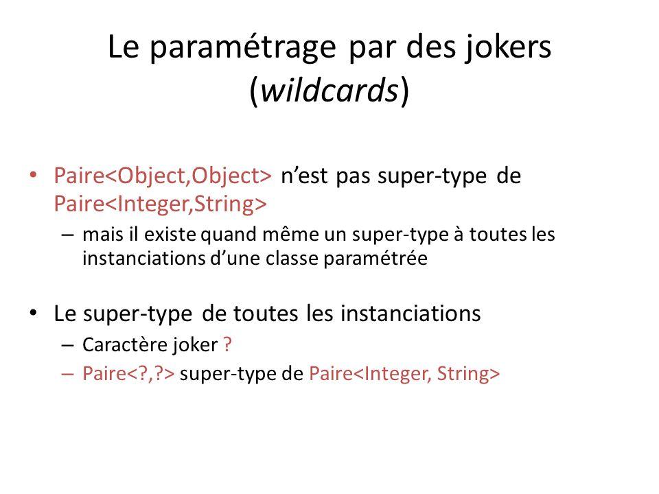 Le paramétrage par des jokers (wildcards) Paire nest pas super-type de Paire – mais il existe quand même un super-type à toutes les instanciations dune classe paramétrée Le super-type de toutes les instanciations – Caractère joker .
