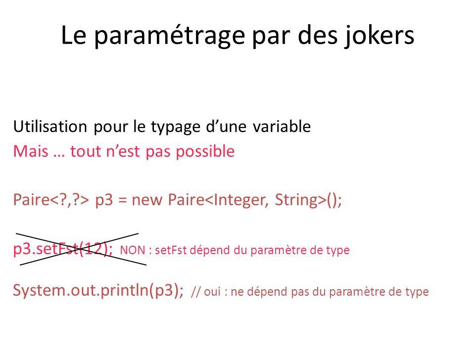 Le paramétrage par des jokers Utilisation pour le typage dune variable Mais … tout nest pas possible Paire p3 = new Paire (); p3.setFst(12); NON : setFst dépend du paramètre de type System.out.println(p3); // oui : ne dépend pas du paramètre de type
