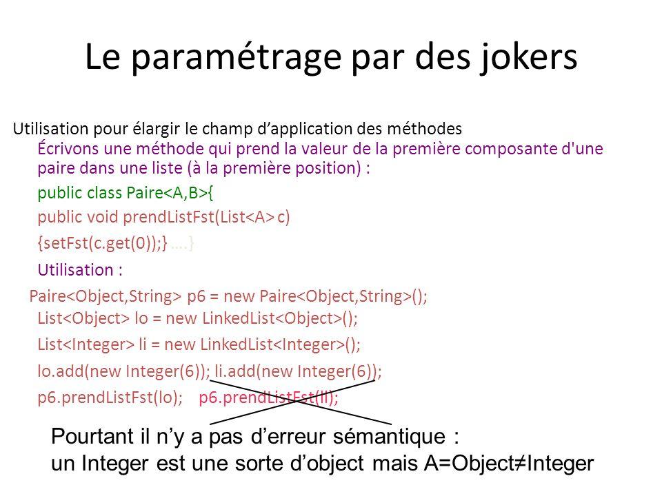 Le paramétrage par des jokers Utilisation pour élargir le champ dapplication des méthodes Écrivons une méthode qui prend la valeur de la première composante d une paire dans une liste (à la première position) : public class Paire { public void prendListFst(List c) {setFst(c.get(0));} ….} Utilisation : Paire p6 = new Paire (); List lo = new LinkedList (); List li = new LinkedList (); lo.add(new Integer(6)); li.add(new Integer(6)); p6.prendListFst(lo); p6.prendListFst(li); Pourtant il ny a pas derreur sémantique : un Integer est une sorte dobject mais A=ObjectInteger