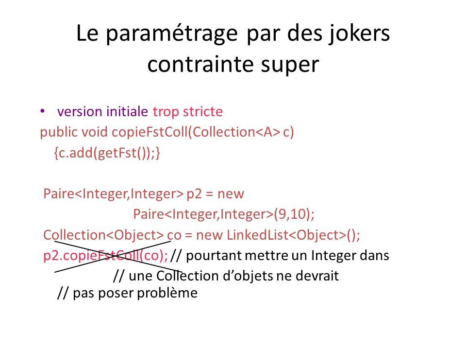 Le paramétrage par des jokers contrainte super version initiale trop stricte public void copieFstColl(Collection c) {c.add(getFst());} Paire p2 = new Paire (9,10); Collection co = new LinkedList (); p2.copieFstColl(co); // pourtant mettre un Integer dans // une Collection dobjets ne devrait // pas poser problème