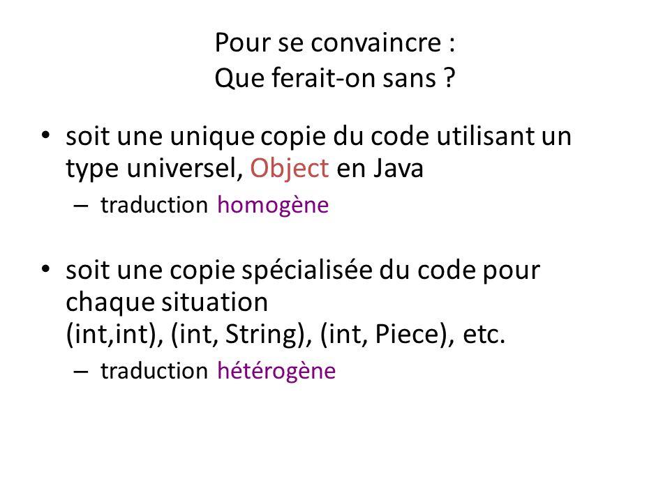 Représentation homogène public class Paire{ private Object fst, snd; public Paire(Object f, Object s){fst=f; snd=s;} public Object getFst(){return fst;}....} Lutilisation demande de la coercition (typecast) Paire p1 = new Paire( Paques ,27); String p1fst = (String)p1.getFst();