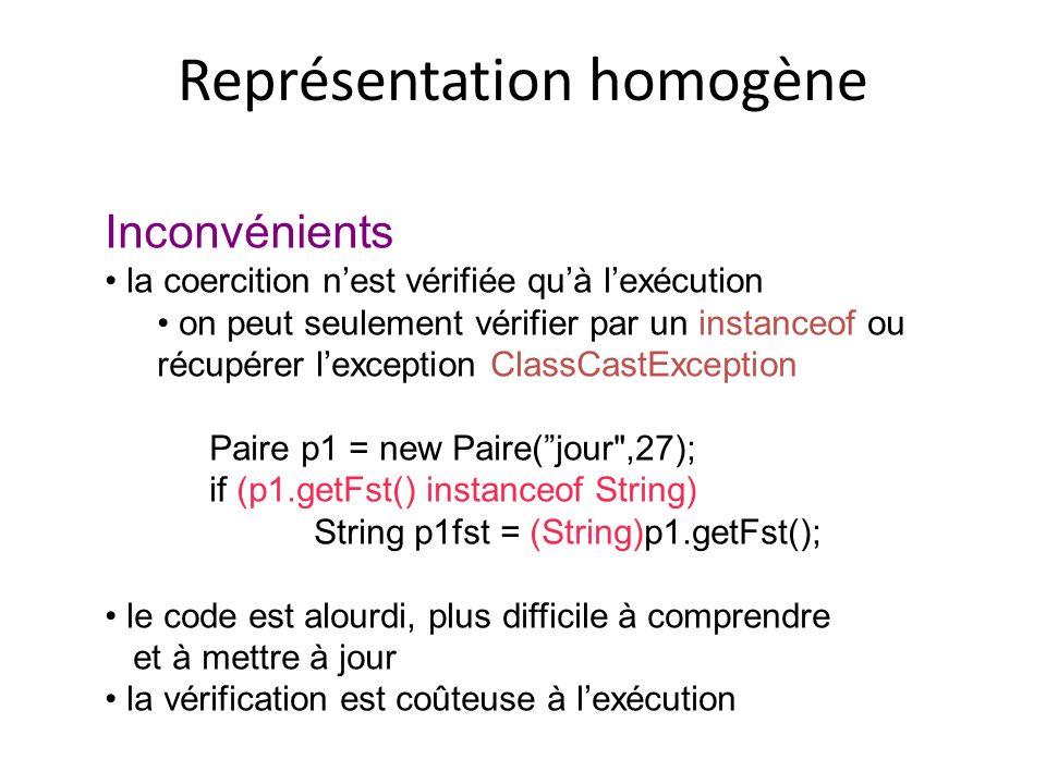 Représentation homogène Inconvénients la coercition nest vérifiée quà lexécution on peut seulement vérifier par un instanceof ou récupérer lexception ClassCastException Paire p1 = new Paire(jour ,27); if (p1.getFst() instanceof String) String p1fst = (String)p1.getFst(); le code est alourdi, plus difficile à comprendre et à mettre à jour la vérification est coûteuse à lexécution