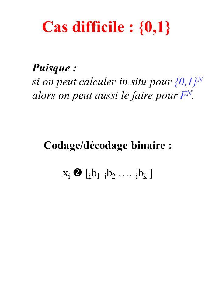 Cas difficile : {0,1} Puisque : si on peut calculer in situ pour {0,1} N alors on peut aussi le faire pour F N.