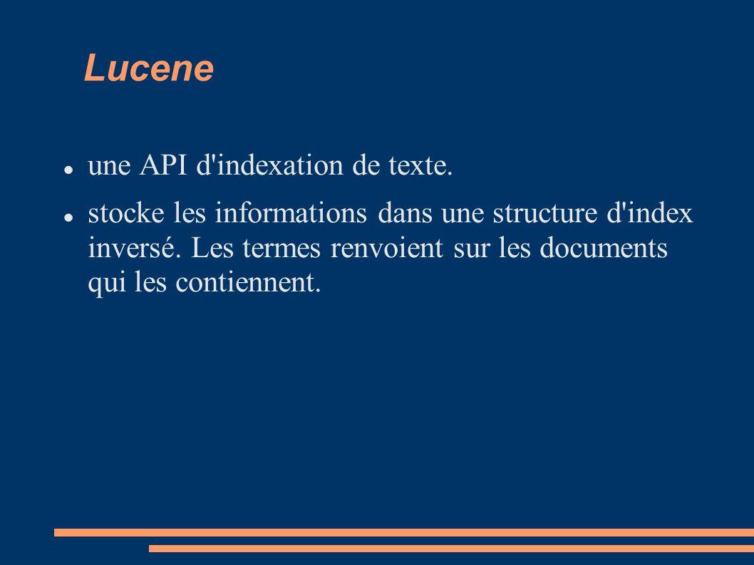 Lucene une API d indexation de texte. stocke les informations dans une structure d index inversé.
