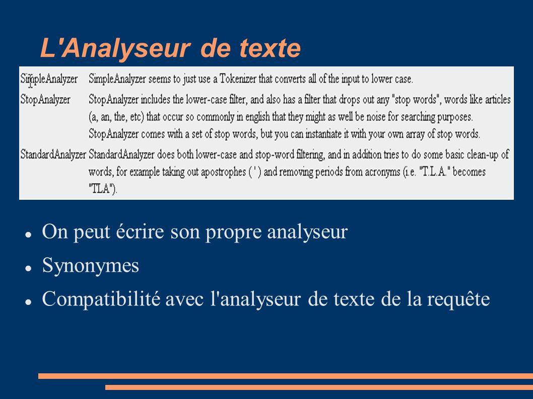 L Analyseur de texte On peut écrire son propre analyseur Synonymes Compatibilité avec l analyseur de texte de la requête