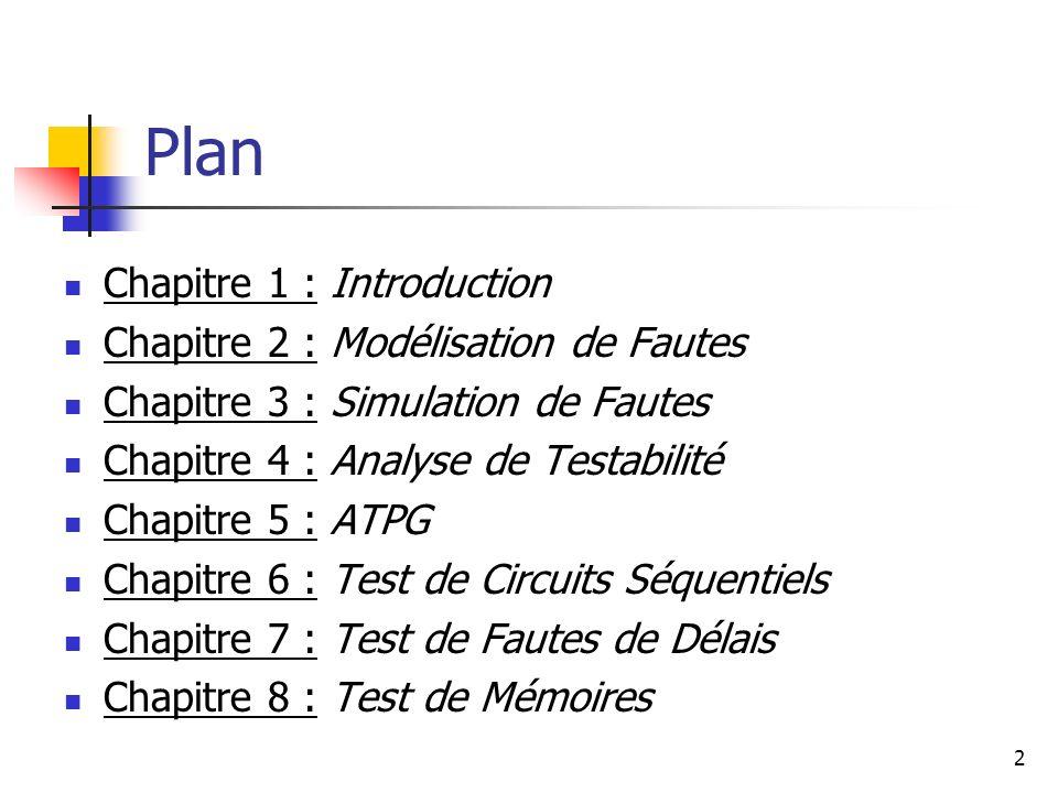 Plan Chapitre 1 : Introduction Chapitre 2 : Modélisation de Fautes Chapitre 3 : Simulation de Fautes Chapitre 4 : Analyse de Testabilité Chapitre 5 :