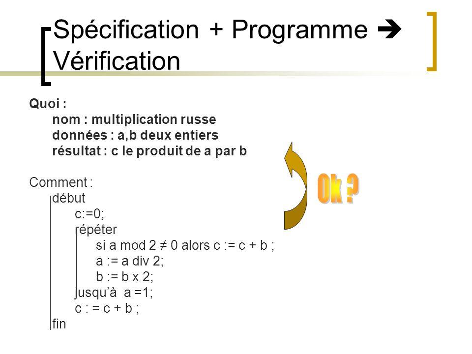 Spécification + Programme Vérification Quoi : nom : multiplication russe données : a,b deux entiers résultat : c le produit de a par b Comment : début