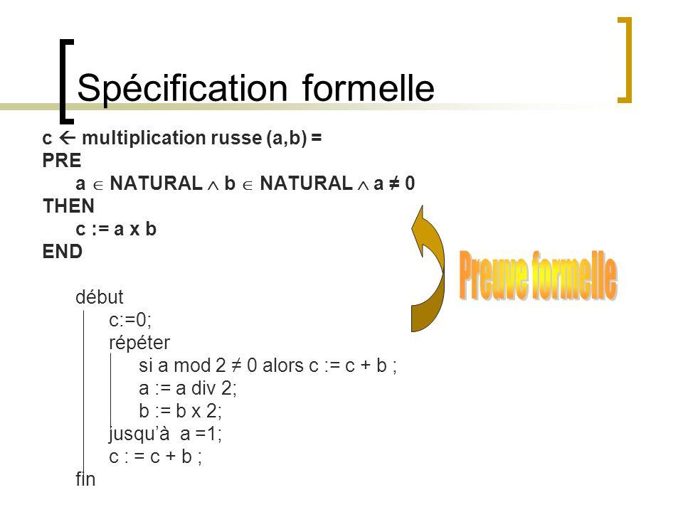 Spécification formelle c multiplication russe (a,b) = PRE a NATURAL b NATURAL a 0 THEN c := a x b END début c:=0; répéter si a mod 2 0 alors c := c +