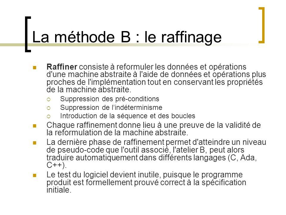 La méthode B : le raffinage Raffiner consiste à reformuler les données et opérations d'une machine abstraite à l'aide de données et opérations plus pr