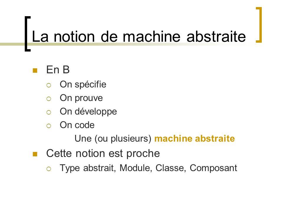 La notion de machine abstraite En B On spécifie On prouve On développe On code Une (ou plusieurs) machine abstraite Cette notion est proche Type abstr