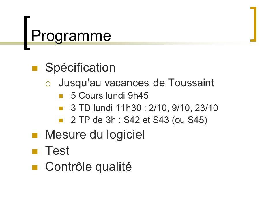 Programme Spécification Jusquau vacances de Toussaint 5 Cours lundi 9h45 3 TD lundi 11h30 : 2/10, 9/10, 23/10 2 TP de 3h : S42 et S43 (ou S45) Mesure
