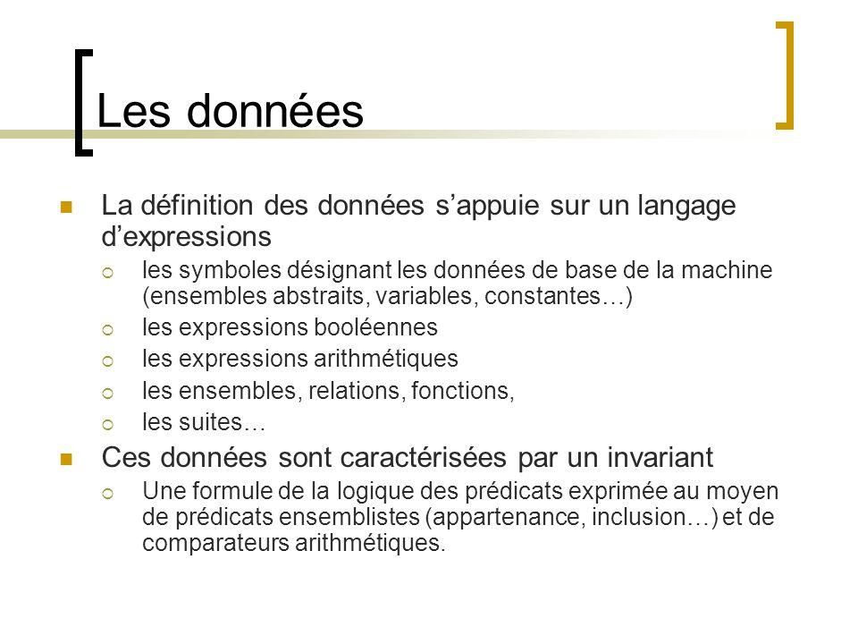 Les données La définition des données sappuie sur un langage dexpressions les symboles désignant les données de base de la machine (ensembles abstrait
