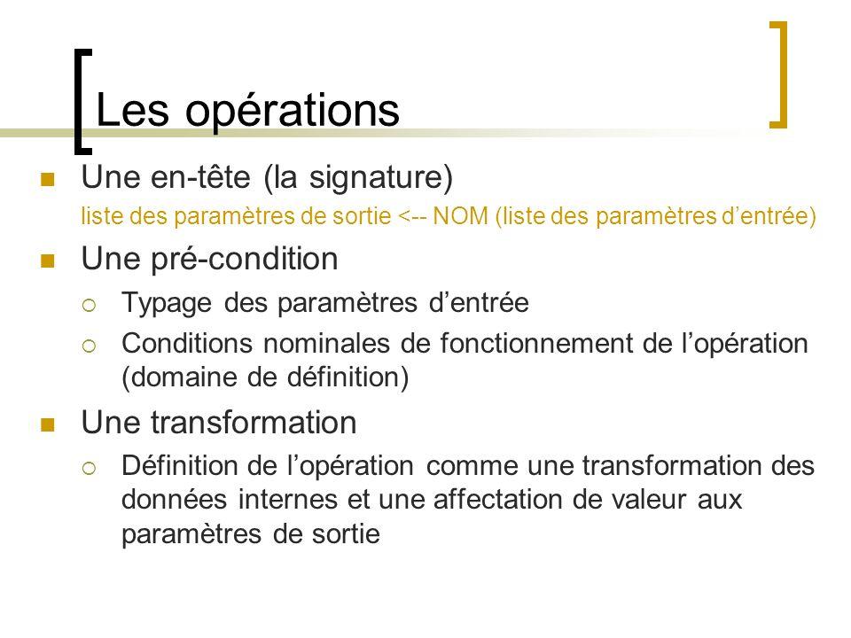 Les opérations Une en-tête (la signature) liste des paramètres de sortie <-- NOM (liste des paramètres dentrée) Une pré-condition Typage des paramètre
