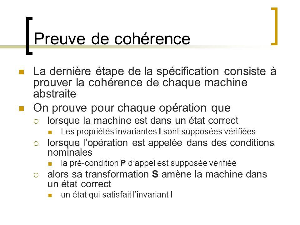 Preuve de cohérence La dernière étape de la spécification consiste à prouver la cohérence de chaque machine abstraite On prouve pour chaque opération