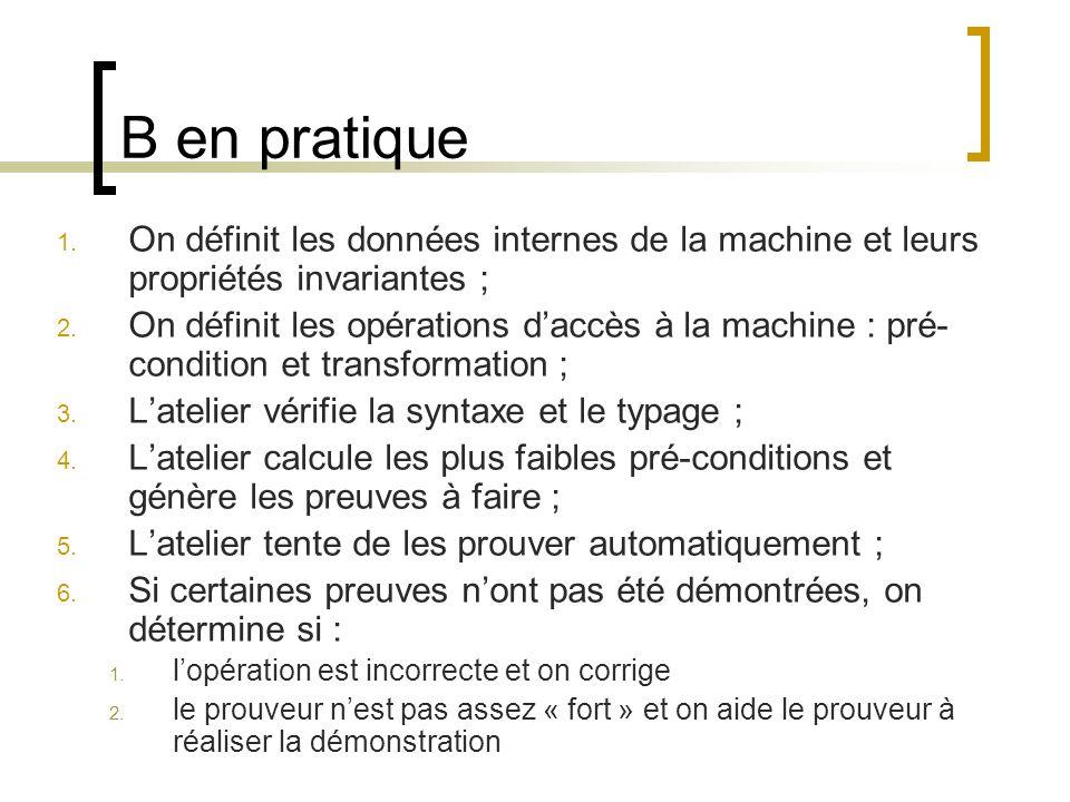 B en pratique 1. On définit les données internes de la machine et leurs propriétés invariantes ; 2. On définit les opérations daccès à la machine : pr