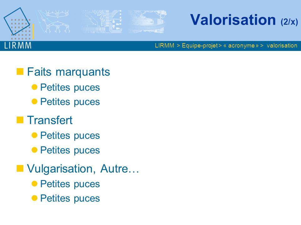 Valorisation (2/x) LIRMM > Equipe-projet > « acronyme » > valorisation Faits marquants Petites puces Transfert Petites puces Vulgarisation, Autre… Petites puces