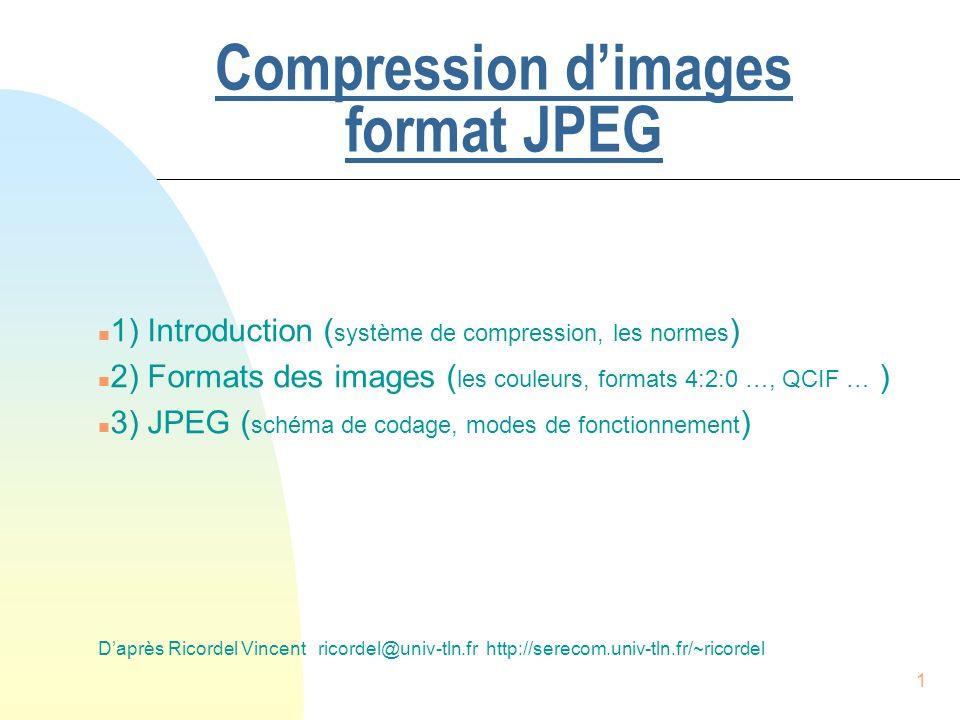 12 2) Les formats image (représentations des images) n Echantillonnage u un signal continu u diviser l axe des temps en intervalles réguliers (discrétisation) u échantillonnage uniforme => Te constante 2.1) Echantillonnage et quantification